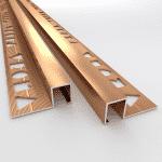 10 X Vroma Bright Bronze Box Square Edge 2.5M Heavy Duty Aluminium Tile Trims