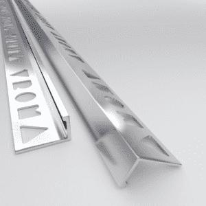 10 X Vroma Bright Chrome Straight Edge L-Shape 2.5M Heavy Duty Aluminium Tile Trims