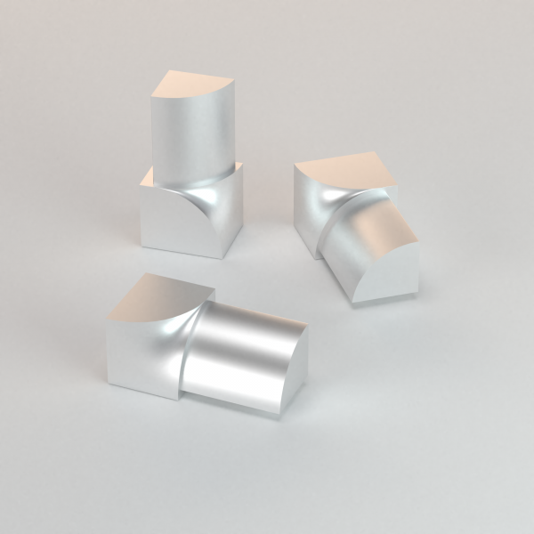 CJ extrusions render 242 round inner corner matte