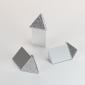 Vroma Deep Brushed Chrome Triangle Aluminium Corner blocks - 10mm-external