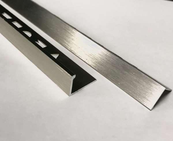 Vroma Brushed Champagne Straight Edge L-Shape 2.5M Heavy Duty Aluminium Tile Trims