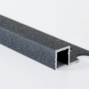 Vroma Textured Metallic Charcoal Box Square Edge 2.5M Heavy Duty Aluminium Tile Trims