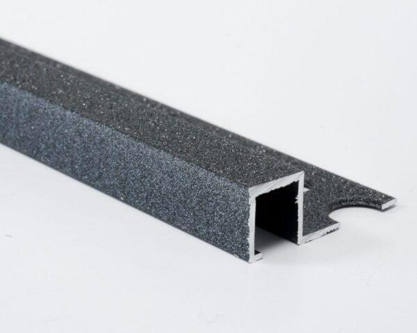 Vroma Textured Metallic Charcoal Box Square Edge 2.5M Heavy Duty Aluminium Tile Trims