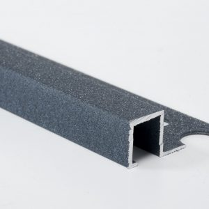 Vroma Textured Metallic Grey Box Square Edge 2.5M Heavy Duty Aluminium Tile Trims