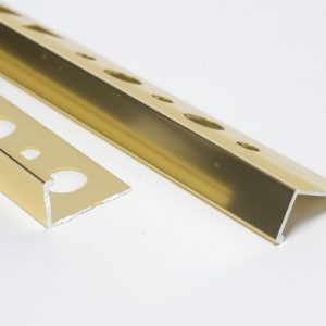 Vroma Polished Gold Straight Edge L-Shape 2.5M Heavy Duty Aluminium Tile Trims