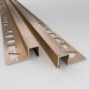 Vroma Brushed Bronze Box Square Edge 2.5M Heavy Duty Aluminium Tile Trims