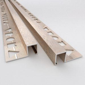 Vroma Brushed Champagne Box Square Edge 2.5M Heavy Duty Aluminium Tile Trims