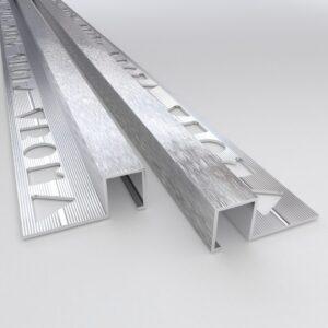Vroma Light Brushed Chrome Box Square Edge 2.5M Heavy Duty Aluminium Tile Trims