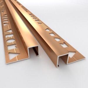 Vroma Bright Bronze Box Square Edge 2.5M Heavy Duty Aluminium Tile Trims