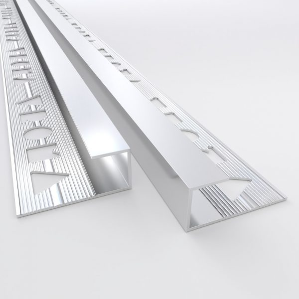 Vroma Bright Chrome Box Capping 2.5M Heavy Duty Aluminium Tile Trims