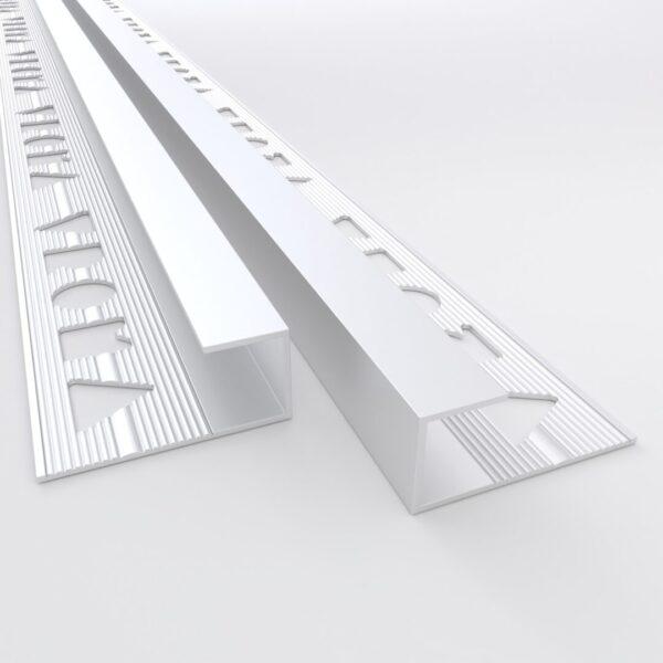 Vroma Matt Chrome Box Capping 2.5M Heavy Duty Aluminium Tile Trims