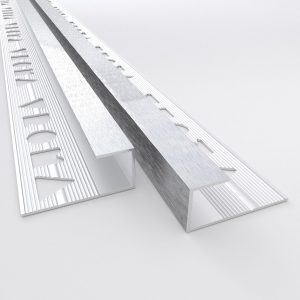 Vroma Deep Brushed Chrome Box Capping 2.5M Heavy Duty Aluminium Tile Trims