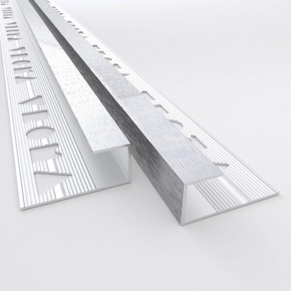 Vroma Deep Brushed Chrome Box Capping 2.5M Heavy Duty Aluminium Tile Trims
