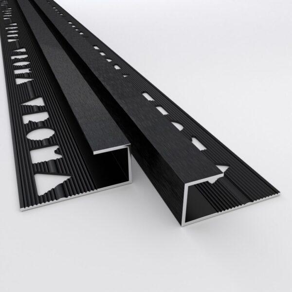 Vroma Deep Brushed Black Box Capping 2.5M Heavy Duty Aluminium Tile Trims