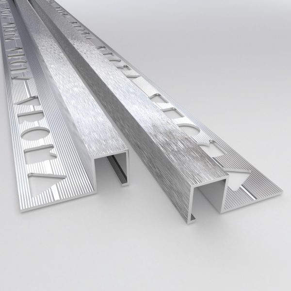 Vroma Deep Brushed Chrome Box Square Edge 2.5M Heavy Duty Aluminium Tile Trims