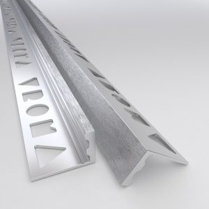 Vroma Deep Brushed Chrome Straight Edge L-Shape 2.5M Premium Heavy Duty Aluminium Tile Trims