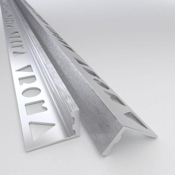 Vroma Deep Brushed Chrome Straight Edge L-Shape 2.5M Premium Heavy Duty Aluminium Tile Trims