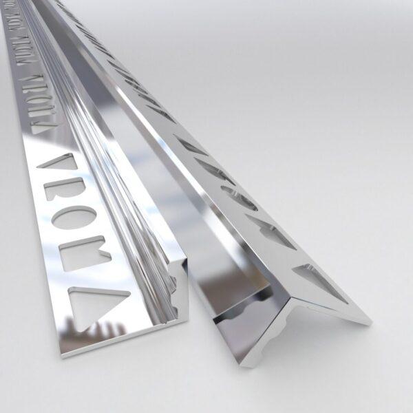 Vroma Bright Chrome Straight Edge L-Shape 2.5M Premium Heavy Duty Aluminium Tile Trims
