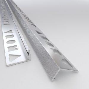 Vroma Deep Brushed Chrome Straight Edge L-Shape 2.5M Heavy Duty Aluminium Tile Trims