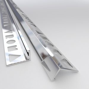 Vroma Bright Chrome Straight Edge L-Shape 2.5M Heavy Duty Aluminium Tile Trims