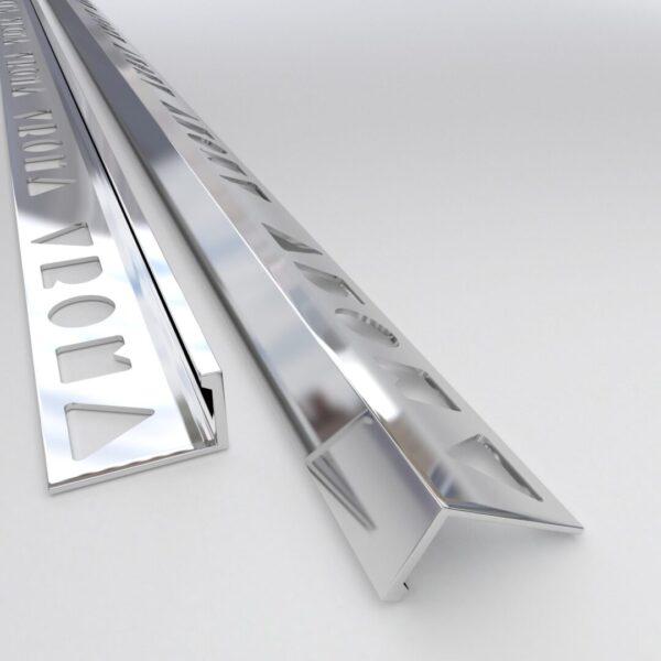Vroma Bright Chrome Straight Edge L-Shape 2.5M Heavy Duty Aluminium Tile Trims