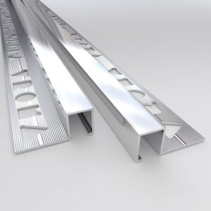 Vroma Bright Chrome Box Square Edge 2.5M Heavy Duty Aluminium Tile Trims