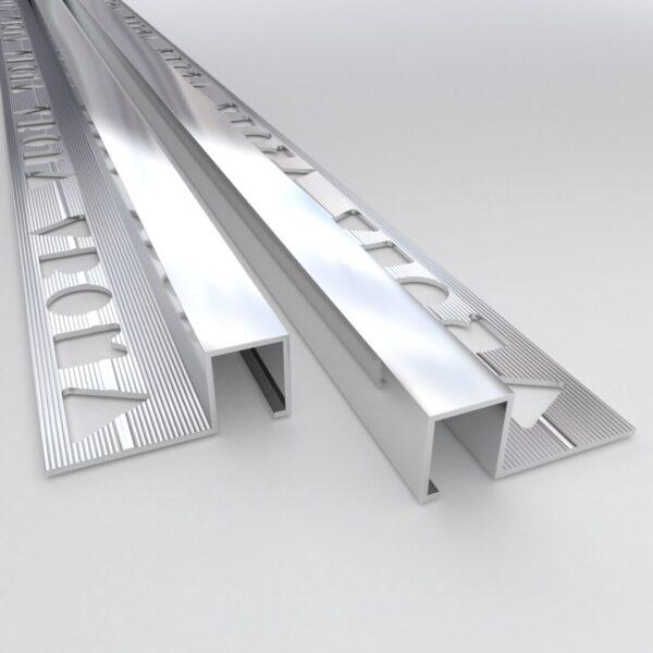 Vroma Bright Chrome Box Square Edge 2.5M Heavy Duty Aluminium Tile Trims