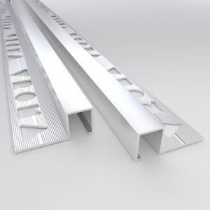 Vroma Matt Chrome Box Square Edge 2.5M Heavy Duty Aluminium Tile Trims
