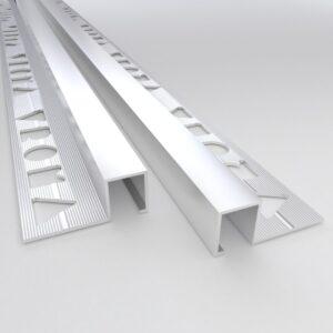 Vroma Matt Chrome Box Square Edge 2.5M Heavy Duty Aluminium Tile Trims