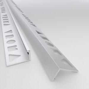 Vroma Matt Chrome Straight Edge L-Shape 2.5M Heavy Duty Aluminium Tile Trims