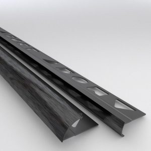 Vroma Brushed Black Quadrant 2.5M Heavy Duty Aluminium Tile Trims