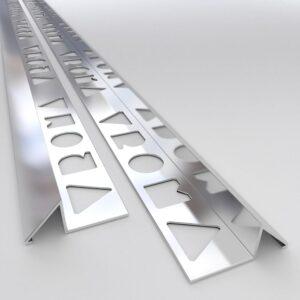 Vroma Bright Chrome Triangle 2.5M Heavy Duty Aluminium Tile Trims