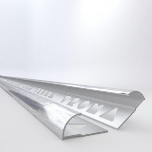Vroma Light Brushed Chrome Quadrant 2.5M Heavy Duty Aluminium Tile Trims