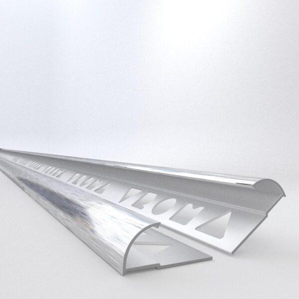 Vroma Light Brushed Chrome Quadrant 2.5M Heavy Duty Aluminium Tile Trims