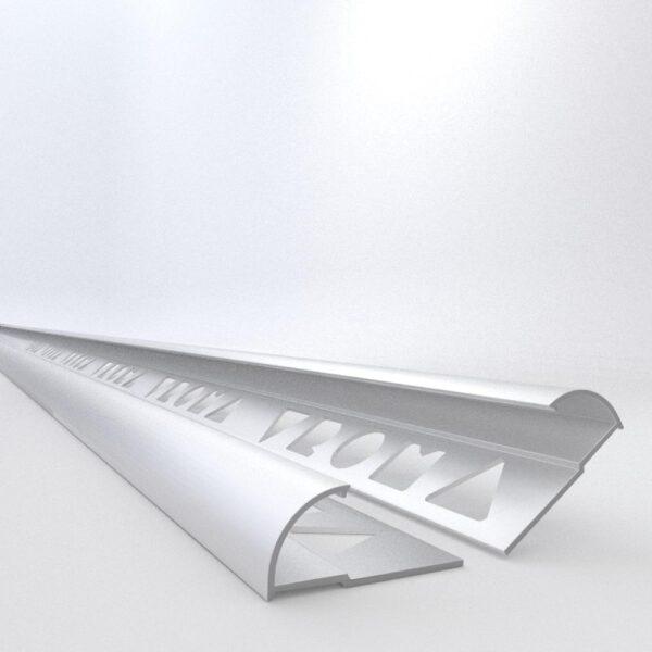 Vroma Matt Chrome Quadrant 2.5M Heavy Duty Aluminium Tile Trims