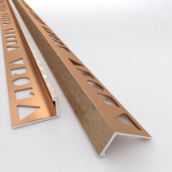 Vroma Brushed Bronze Straight Edge L-Shape 2.5M Heavy Duty Aluminium Tile Trims