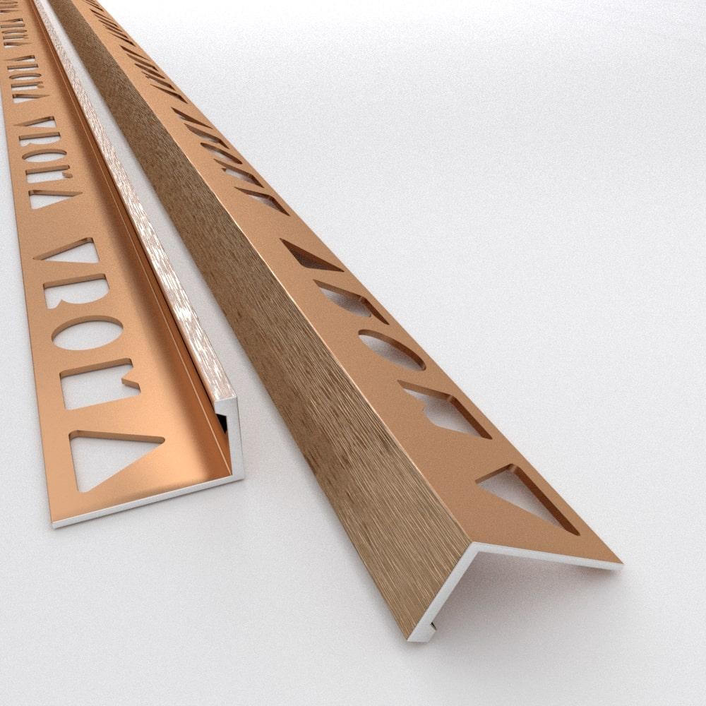 Tile Trims by Vroma - Brushed Bronze Straight Edge L-Shape 2.5M Heavy Duty Aluminium