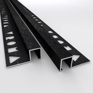 Vroma Brushed Black Box Square Edge 2.5M Heavy Duty Aluminium Tile Trims