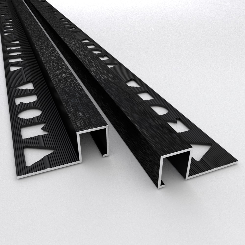 Tile Trims by Vroma Brushed Black Box Square Edge 2.5M Heavy Duty Aluminium
