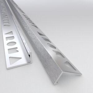 Vroma Light Brushed Chrome Straight Edge L-Shape 2.5M Heavy Duty Aluminium Tile Trims