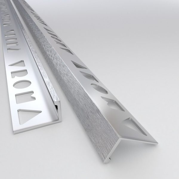 Vroma Light Brushed Chrome Straight Edge L-Shape 2.5M Heavy Duty Aluminium Tile Trims