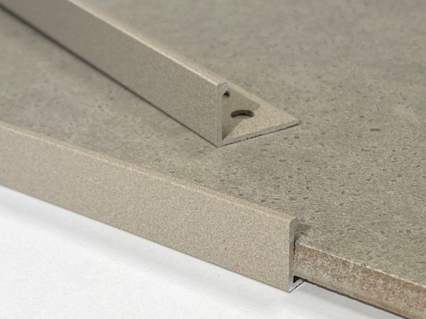 Light Grey Stone Straight Edge L-Shape 2.5M Heavy Duty Aluminium Tile Trims